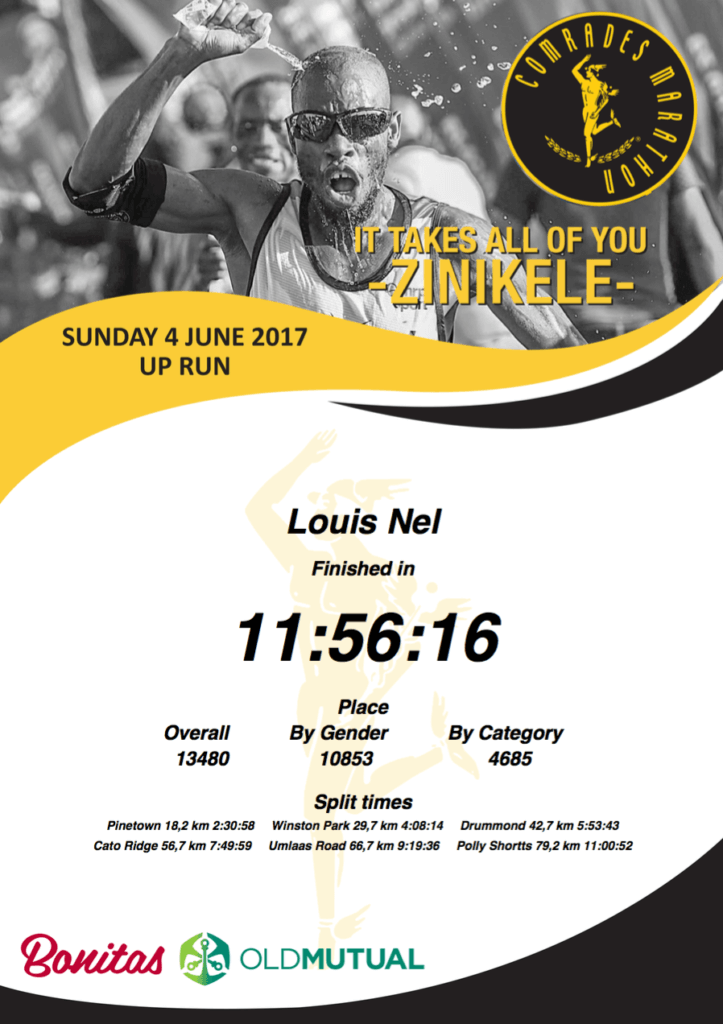 My results certificate of the Comrades Marathon 2017