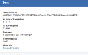 Here is a copy of the actual transaction in my BTC (bitcoin) wallet.