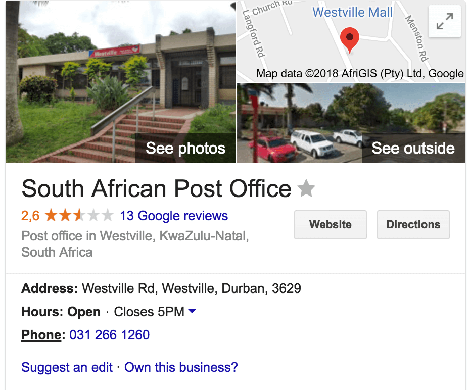 Westville Post Office in Durban