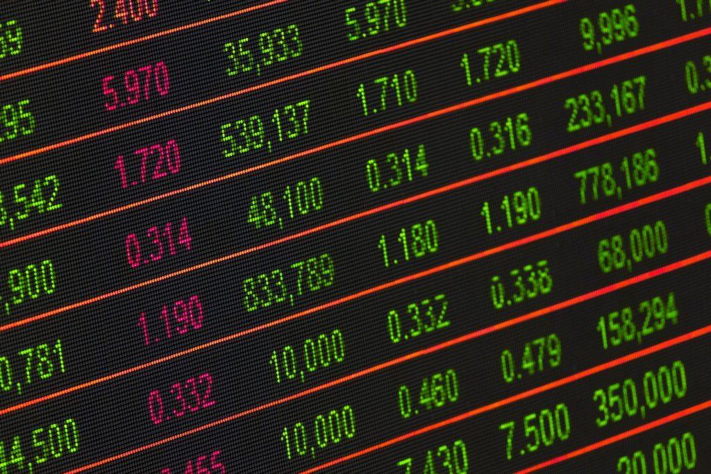 stock market ticker close up