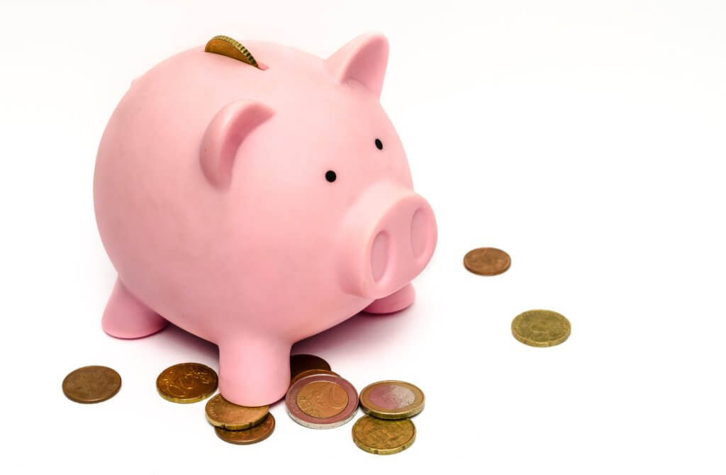 a piggy bank with coins