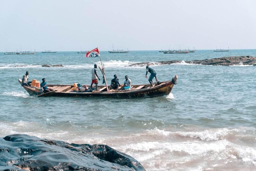 fishermen on a boat in ghana